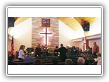 The Bell Choir, led by Ken Johnson, performed during the February 16, 2014, Worship Service