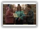 Sharon Sayers is recognized as the 2014 Quiet Disciple by Joleen Marquardt and Pastor Lesley Matschke on March 30, 2014